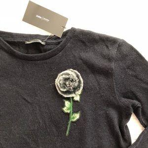 Zara Collection fur flower detail sweater